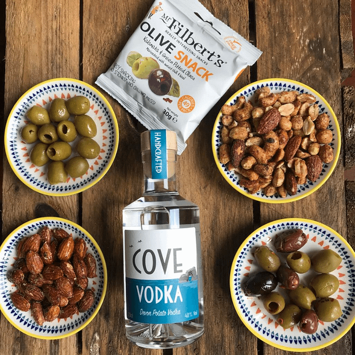 Cove Vodka and Mr Filbert's snack selection gift box