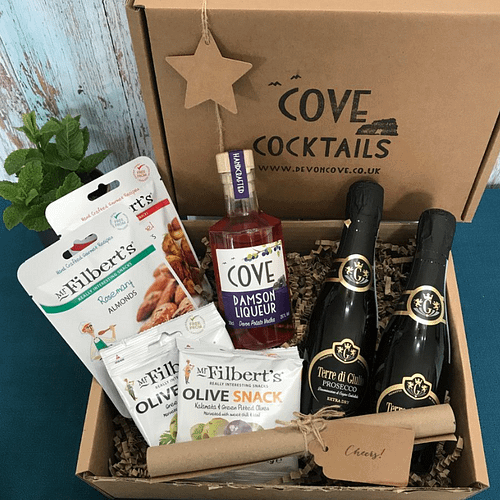 Devon Cove Damson Liqueur and Prosecco Gift Box with Mr Filbert's Nuts and Olives