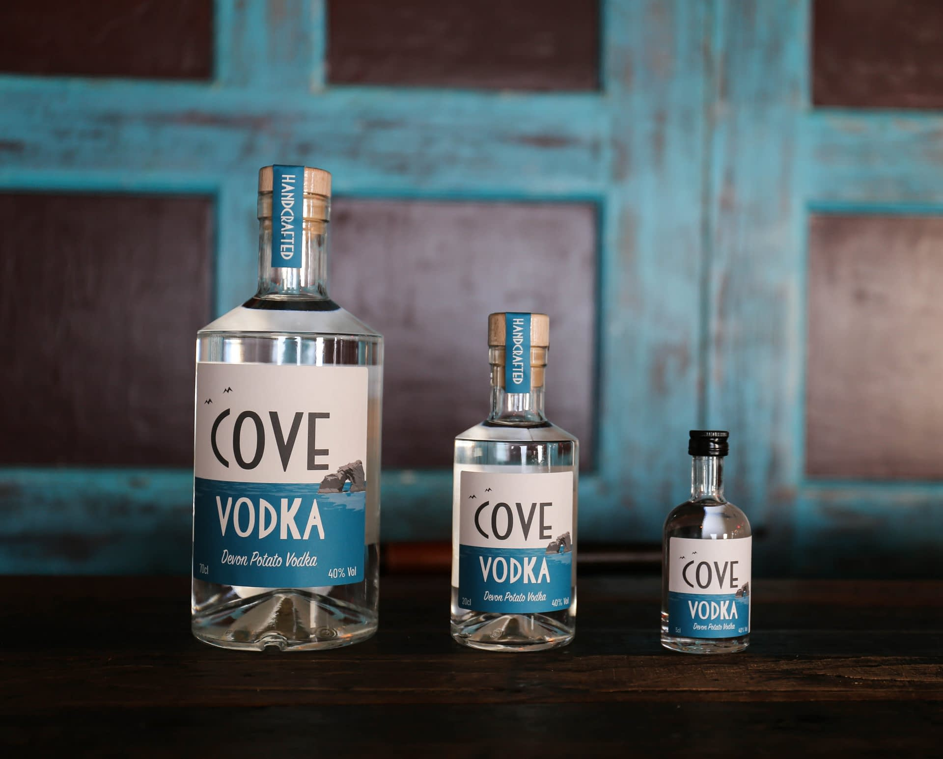 Cove Vodka bottles 70cl 20cl 5cl