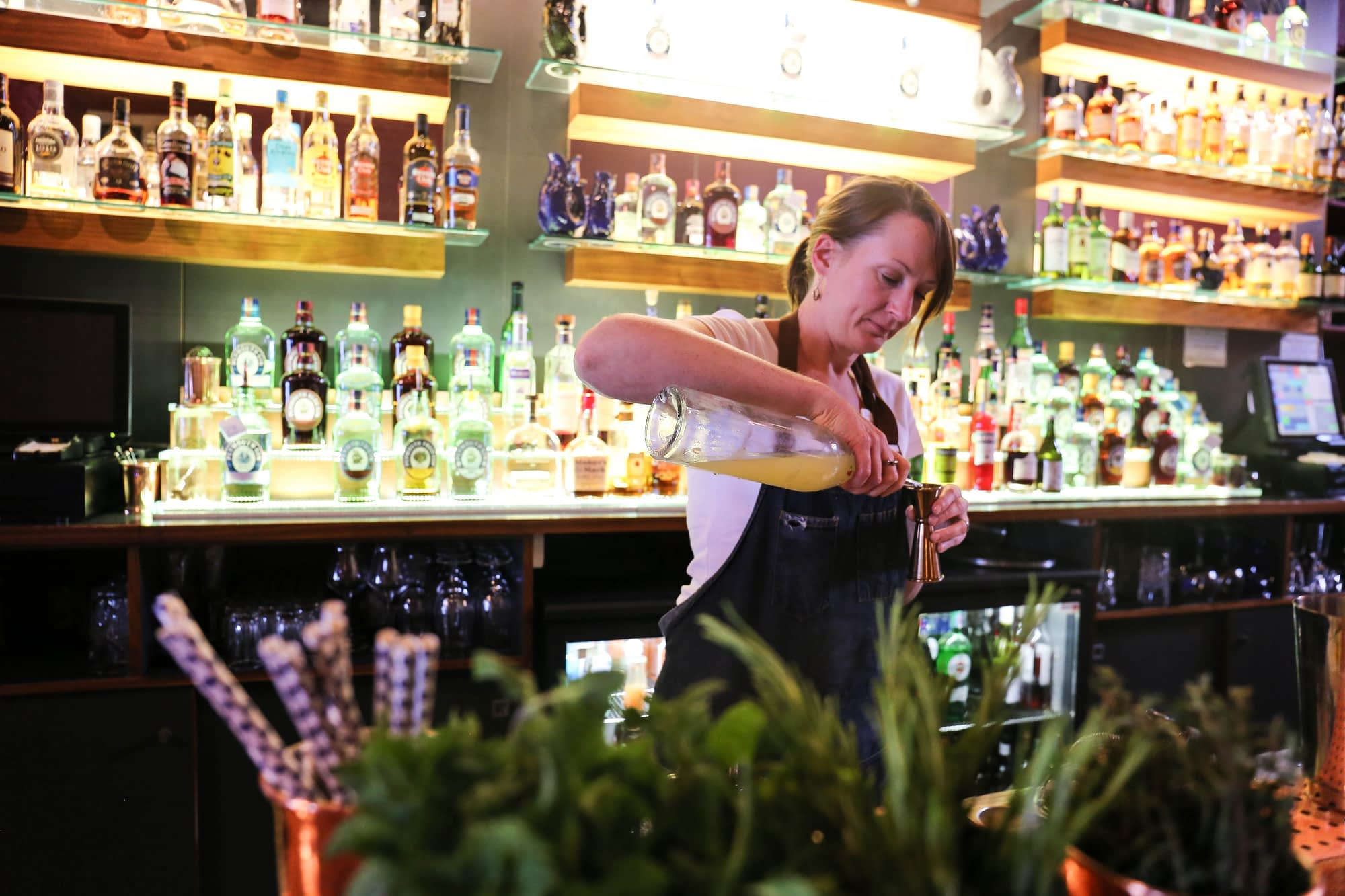 Leanne cocktail making