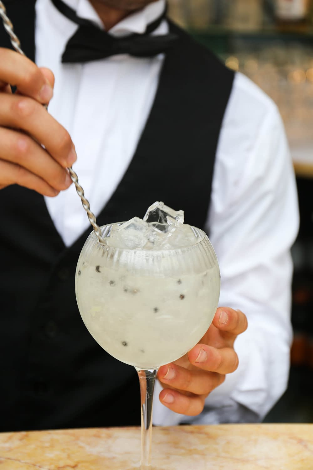 Royal Fizz Cove Vodka Cocktail being made at Burgh Island