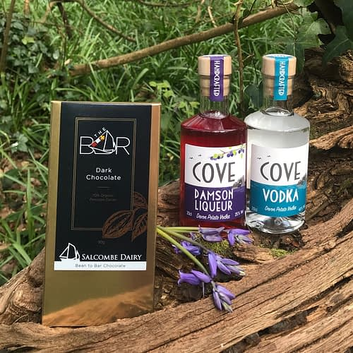 Cove Vodka, Damson Liqueur and Salcombe Chocolate Gift Set